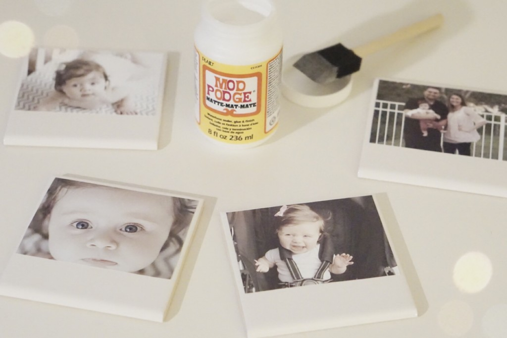 DIY Polaroid Photo Coasters. Such an easy + cute gift idea! @ Gracefulmommy.com