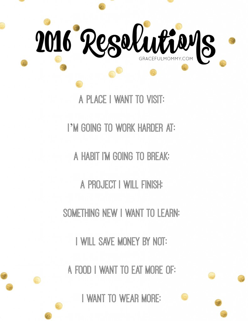 Free New Year's Resolutions Printable! Perfect to print out and keep by your desk.
