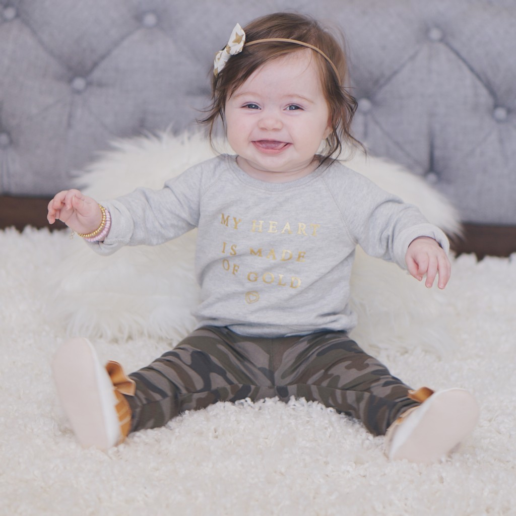 Gracie's Gold + Camo outfit featuring some great small shops! Gracefulmommy.com
