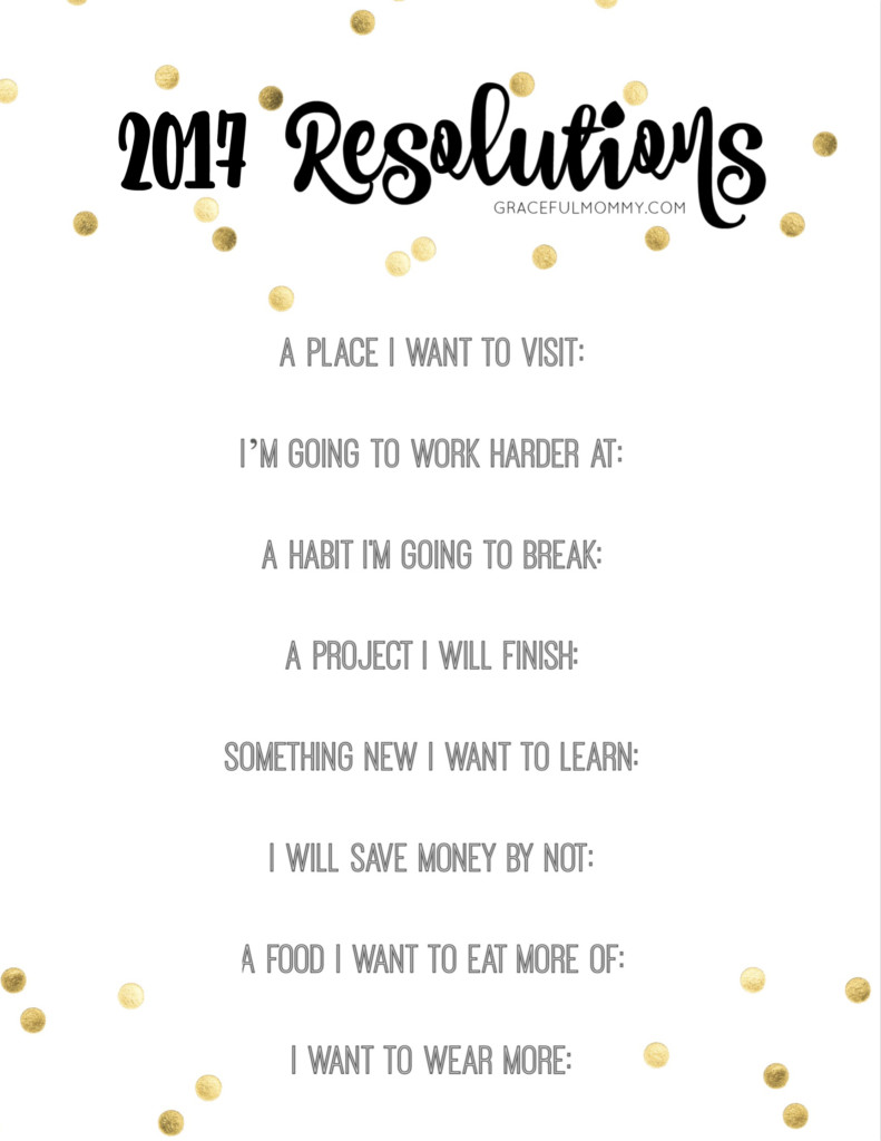 2017 New Years Resolutions! Great printable!