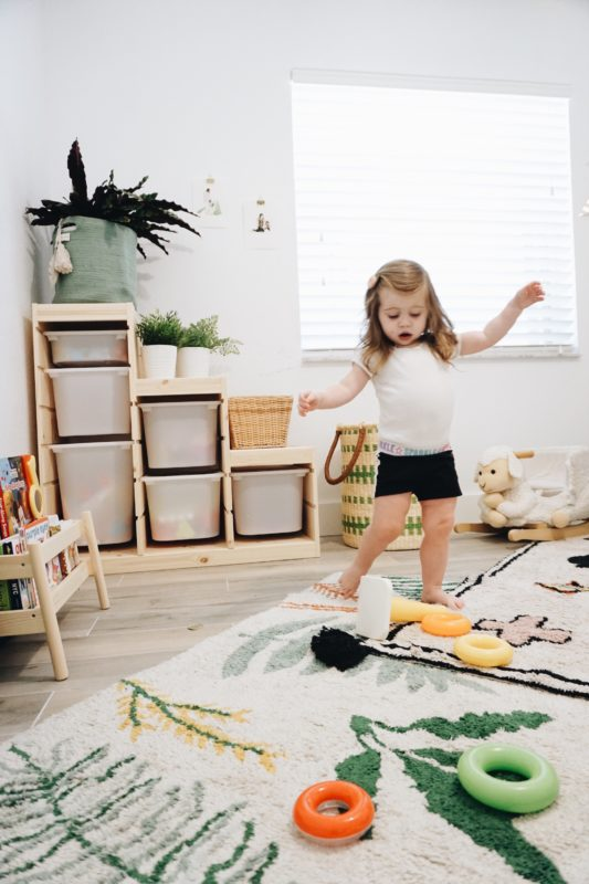 Playroom makeover, playroom, boho playroom, washable rugs, washable rug, lorena canals rugs, teepee, playroom, mommy blogger, playroom DIY, mom blogger, mom blog, toddler room, montessori, montessori room, minimalist, minimalist playroom, toy storage